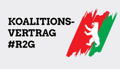 Das Bild zeigt den Schriftzug Koalitionsvertrag R2G und ein Logo it den Farben rot-rot-grün und einem weißen Bären in der Mitte.